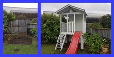 A great before & after showing how one of our awesome cubbies can transform an unused corner of a backyard into fun central! This is a medium fort with a slide. #mycubby #cubbyhouse #fort #outsideplay