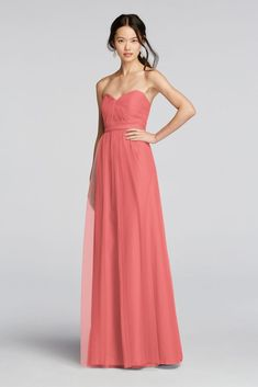 Strapless Tulle Long Bridesmaid Dress with Removable Belt