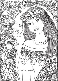 Winter Girl And Gifts Snowflakes Adult Coloring Book Page