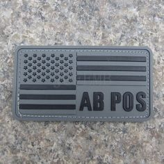 grey background black design American flag Blood type AB POS Military Tactical Morale 3D PVC patch Badges PB346 #Affiliate