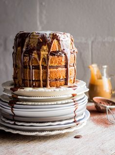 quadruple chocOlate cake (white chocolate cake topped with whipped dark chocolate ganache and caramel-chocolate sauce)