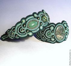 комплект сутажный-ободок+браслет. - браслет сутажный,зеленый,ободок сутажный