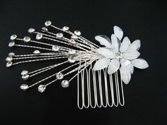 BRIDAL WEDDING HANDMADE SIMPLE SWAROVSKI CLEAR CRYSTAL HAIR COMB RHINESTONE TIARA 90200. $18.00, via Etsy.
