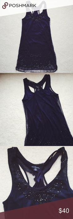 Vintage Gatsby inspired navy beaded slip dress ⋈ Worn once for a Gatsby/1920s party ⋈ Vintage vibes ⋈ Great high-end look at a bargain ⋈ Sheer outside with slip inside. Slip is detachable. Intricate beading is beautiful  ⋈ Some sequins are missing on the shoulders as shown ⋈ Price is negotiable! American Eagle Outfitters Dresses Mini
