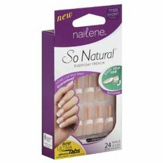 Nailene So Natural Nails, Short, Pink 71323, 24 ea by Nailene. $8.99. Everyday french. Contents: 24 glue on nails, 0.07 oz (2g) glue, manicure stick, buffer. 12 sizes. Glue included. Long lasting wear. Easy grip tab. New ultra tabs. Adhesive sample inside. Up to 5 day wear. Will not damage natural nails! Water resistant. Nailene So Natural with Easy Grip Tabs now makes nail application easier than ever! The natural and ergonomic feel of out patent-pending tabs will hel...