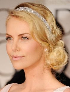 Updo. Not a fan of the headband but I like the waves.
