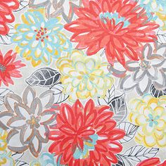 Matisse Dance is a large-scale floral fabric from the Painter's Notebook Collection by P/K Lifestyles. This rich, bold design is screen printed on 100% cotton duck and features fanciful flowers that have a hand-drawn appearance.