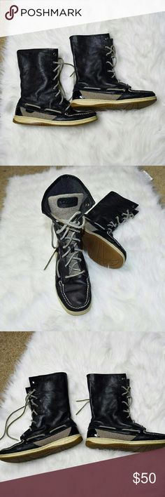 Sperry Topsider Hikerfish Black High Top Shoes Made out of real leather. Extremely comfortable. Worn only a handful of times. Really makes outfits looks unique and adorable when you wear these beauties! The bottom of the shoe is naturally slightly cream colored and is 100% part of the original design of the shoe. In excellent condition!! Sperry Top-Sider Shoes Ankle Boots & Booties