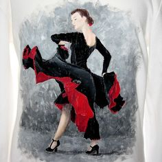 Hand painted, cotton fabric children's long sleeved tee, using non-toxic, water based, permanent fabric colours. H&m Brand, Red Black Dress, Flamenco Dancers, Gray Background, Fashion Sketches, Tshirt Colors, Colorful Shirts, Cotton Fabric, Hand Painted