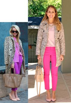 """Inspiration: ATLANTIC PACIFICVIAWHOWHATWEAR    A new idea for wearing an old leopard coat? Don't mind if I do. As much as  I love the inspiration photo colors, I couldn't find an exact match in my  closet. I went off the grid until I found my own trio of pink shades that  work well together. There's a certain retro vibe to this lookthat I love  (""""Mad Men"""" collection coat and kitten heels, perhaps?). Would you wear it?  Coat: Banana Republic c/o, old (similar below) Top: Express, $19 ..."""
