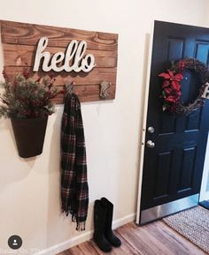 sharing our entryway for this week. the front door wreath is a DIY from a few years ago and the hello coat rack I DIYed a few… Wreaths For Front Door, Door Wreath, First Home, My New Room, My Dream Home, Home Projects, Diy Home Decor, Home Improvement, Sweet Home