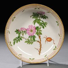 "Royal Copenhagen Flora Danica Pattern Porcelain Serving Dish, 20th century, circular, polychrome enamel and gilt-decorated, titled ""Rosa robiginosa L"""