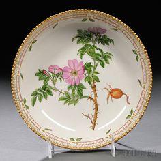 "Royal Copenhagen Flora Danica Pattern Porcelain Serving Dish, 20th century, circular, polychrome enamel and gilt-decorated, titled ""Rosa robiginosa L"""