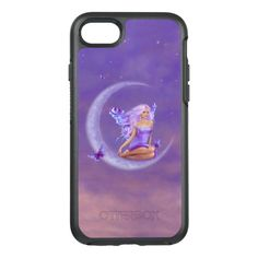Lavender Moon Purple Butterfly Fairy OtterBox Symmetry iPhone 7 Case -  OtterBox Apple iPhone 7 with my original painting of a pretty fairy sitting on the moon with purple butterflies, titled... #custom #beach themed #gift #otterbox design by #twosilverstars - #otterbox #moon #fairy #star #night #purple #peach #butterfly #wings #girl #clouds #colorful #faerie #fairie #rachelanderson #magical #realism #ornamental #butterflyfairy #butterflies #purplehair #pinkhair #butterflywings #fairywings