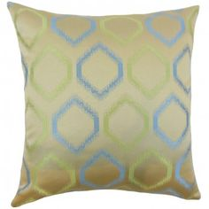Reinvent your living space with this stunning decor pillow. Printed with a geometric pattern in shades of green and blue on a gold background. Our pillow collection features a plethora of statement piece which is perfect for your living room and bedroom. Made of 100% fine-quality polyester material. $55.00 #pillows  #homedecor  #throwpillow  #geometric