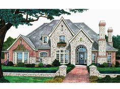 Home Plans HOMEPW22083 - 3,383 Square Feet, 4 Bedroom 3 Bathroom French Country Home with 3 Garage Bays