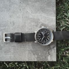 Vintage Orient Slide Rule watch paired with Bas and Lokes grey