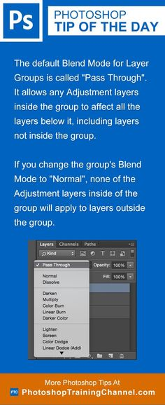 """The default Blend Mode for Layer Groups is called """"Pass Through"""". It allows any…"""