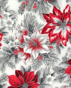 Holiday Flourish - Radiant Winter Flowers - Mist Gray/Silver