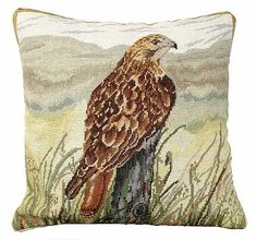 Red Tail Hawk Needlepoint Pillow