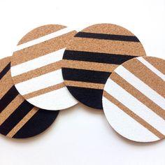 Hand Painted Cork Coasters - Set of 4 | White & Black