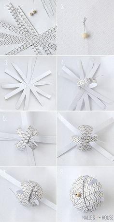 DIY Weihnachtsbaum-Schmuck Ideen aus Papier, Weihnachtsdeko selber basteln, Weihnachtskugel aus Papier basteln