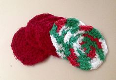 Cotton Cranberry  Holiday Christmas Pot Scrubbers by RocknHotdog