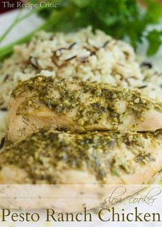 Slow Cooker Pesto Ranch Chicken at http://therecipecritic.com If you have 5 minutes to throw together an amazing meal and you love pesto, this recipe is for you!