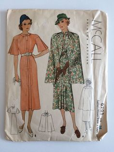 McCall 8703 | 1930s Ladies' & Misses' Dress & Cape