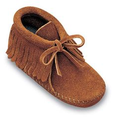 "Minnetonka Infant's Brown Suede  Fringe Bootie. Product # 1482.    ""Moccasin soul"" for little feet. Genuine Minnetonka style. Soft, rich suede natural leathers - easy to wear and tailored for toddlers.    Color: Brown Suede    Sizes: 1, 2, 3, 4, 5, 6"