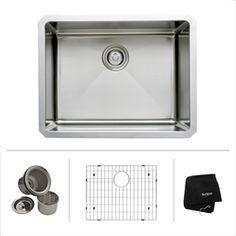 Kraus Handmade 18-In X 23-In Single-Basin Stainless Steel Undermount Residential Kitchen Sink