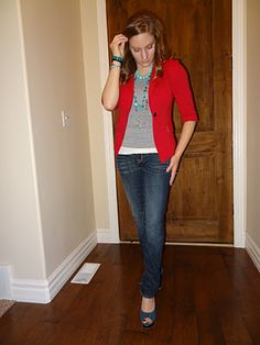 love the red blazer and turquoise accents