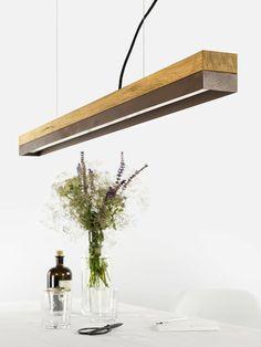 Hanger C1o corten hangende lamp gemaakt van eiken en Corten