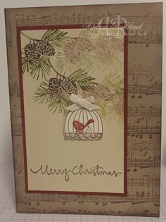 Nice mix of stamps from different Stampin' up! sets.  Love the music background -- I can only assume that the little bird is caroling his heart out .