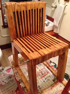 Recycled Pallet wood chair, handmade and finished in high gloss