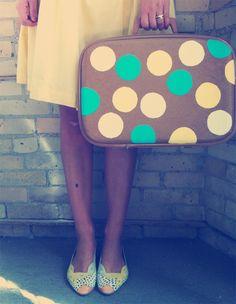 Polka suitcase DIY on Oh so lovely vintage.