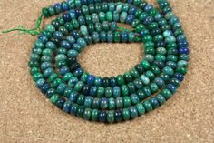 Azurite Rondelle Beads  Smooth Lapis and Malachite by ABOSBeads, $24.99