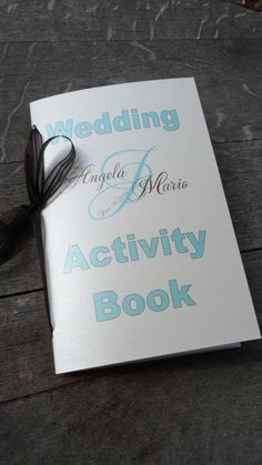 "Maybe add onto a little of the book I have? make it ""customized?"" Set of 10 Custom Wedding Coloring Activity Books for Children's Flower Girl Ring Bearer Gift Favors Your Choice of Color & Fonts. $35.00, via Etsy."