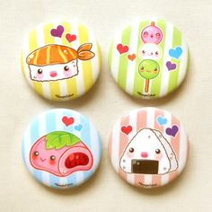 "Kawaii japanese food 1.75"" pinback button set of 4: cute food pin set, cute mochi and dango, anime brooch pin, kawaii food buttons, onigiri"