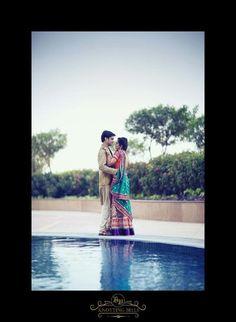 couple portrait, blue, pool side shoot,Knotting Bells