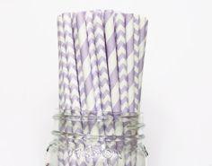 Paper Straws, Purple  Paper Straws Stripe Chevron, Lavender Vintage Wedding Table Setting, Baby Shower, Kids Birthday Party Straws Princess on Etsy, $3.75