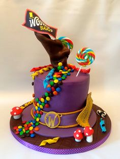 Charlie and the Chocolate Factory inspired hat cake with gravity defying chocolate flow by www.facebook.com/cakeinspirations