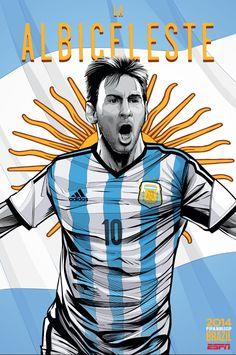 Lionel Messi. Ilustração de Cristiano Siqueira em campanha da ESPN para a Copa do Mundo 2014.