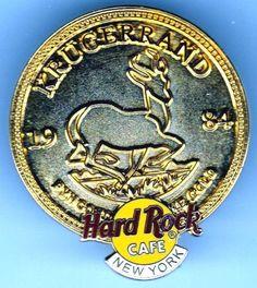 New-york-Gold-colored-Krugerrand-1984-Hard-Rock-Cafe-Lapel-PIN-Spilla-HRC Cafe New York, Lapel Pins, Hard Rock, Gold, Ebay, Art, Art Background, Kunst, Hard Rock Music