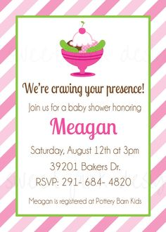Pickles and Ice Cream Baby Shower Invitation on Etsy, $17.50