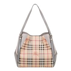 Tote your daily essentials in style with the Burberry Small Haymarket Check Tote Bag. Featuring the signature Haymarket check pattern with grey leather sides, this stylish tote bag is a must-have accessory.