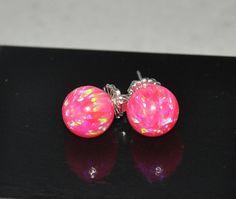 Australian Opal stud ball earrings 10mm by naturalstonesjewels