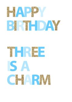 Happy Birthday  Three is a Charm  Blue by inspirationholly on Etsy