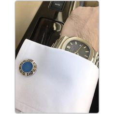 Blue Chalcedony Sterling Silver Cufflinks, Rhodium plated, Zodiac Model…