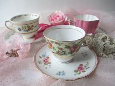 Vintage Eclectic Mix Pink Floral Teacups and Saucers by jenscloset